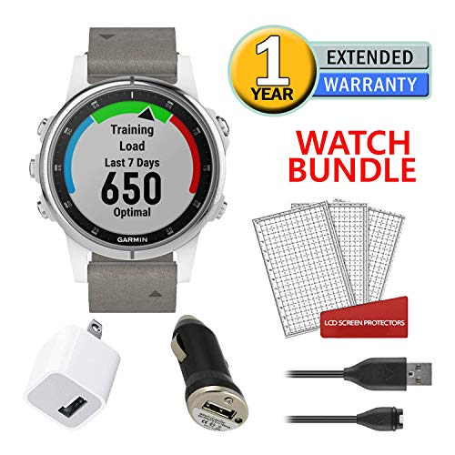 Garmin Fenix 5S Plus Training GPS (42mm) (White with Suede Band) Running Watch Bundle with Charger + Screen Protectors + More 1