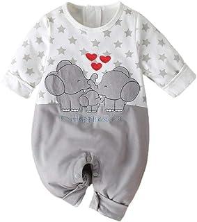SHOBDW Body Bebé Niño Recién Nacido Trajes De Mameluco Care Pijama Bebé Niño Verano Jumpsuit Bebé Dibujos Animados Impresión de la Estrella Mono para Bebé Manga Larga