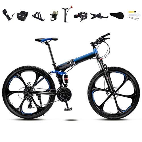 Hochwertiges Fahrrad 24-26 Zoll MTB Fahrrad, Unisex Folding Pendler Fahrrad, 30-Gang Getriebe Faltbare Mountainbike, Off-Road Variable Speed Bikes for Männer und Frauen, Doppelscheibenbremse/Blau