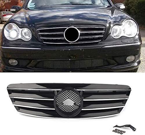 WJHNB Frontgrill 4-poliger Grill für Mercedes Bens C-Klasse W203 C230 C240 C320 C32 C220 2000-2006 Ohne...