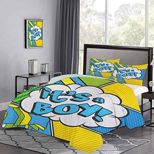 Juego de colcha de, estilo pop art, cómics, es un niño, tema de anuncio vintage, edredón, edredón, funda de edredón, lazos de esquina para sujetar el edredón en su lugar, azul cielo, amarillo, verde h