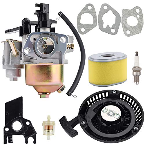 Kuupo GX140 GX160 GX200 Carburetor with Black Recoil Starter Air Filter for GX 140 GX 160 GX 200 5HP 5.5HP 6.5HP Generator Harbor Freight Predator 212cc Engine Carb Replacement Parts