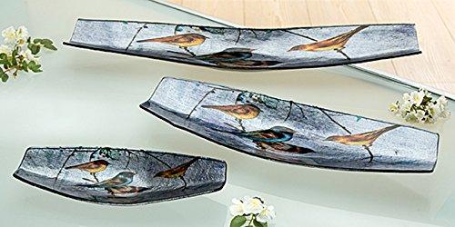 Teller Glas Deko Schale Birdy bunt (G40218) Glasschale Glasteller Dekoschale