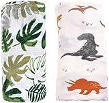 Manta de muselina de bambú para recién nacido, 2 unidades 'dinosaurio y tropical' de muselina de bambú de algodón – Paños de muselina grande para bebé (dinosaurio y tropical)
