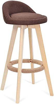 QZ HOME Rotating Bar Chair Backrest Barstool Solid Wood Environmental Protection Cozy Durable (Color :