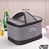 GOLD LEAF Portable Insulated Striped Thermal Cooler Lunch Box Storage Bag, Grey
