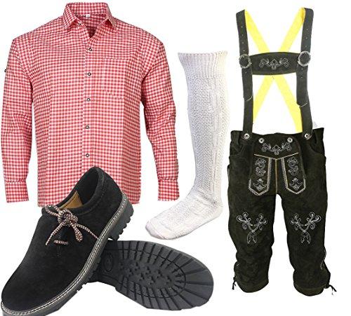 ALL THE GOOD S 1 Trachtenset (Hose +Hemd +Schuhe +Socken) Bayerische Lederhose Trachtenhose Oktoberfest Leder Hose Trachten (Hose 48 Hemd 38/39)