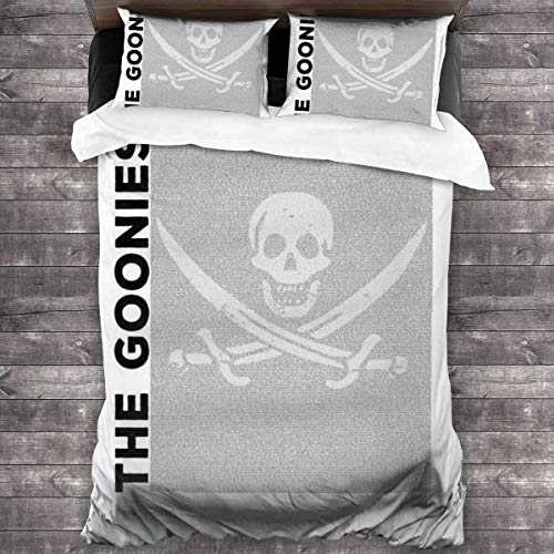 Yuanmeiju The Goonies Film Script Silhouette 3 Pieces Bedding Set Duvet Cover 86x70 Inch Decorative 3 Piece Bedding Set with 2 Pillow Shams