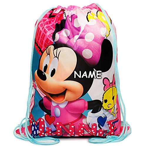 alles-meine.de GmbH 2 Stück _ Sportbeutel - Turnbeutel - Schuhbeutel - Disney - Minnie Mouse - inkl. Name - wasserabweisend abwischbar - für Kinder - Kinderbeutel / Schlafsack - ..