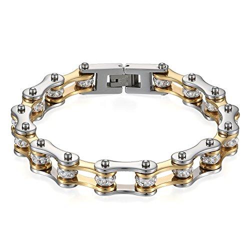JewelryWe Schmuck Herren Armband, Top-Qualität Fahrradkette Motorradkette Hochglanz Poliert Armkette, Edelstahl Strass, Gold Silber
