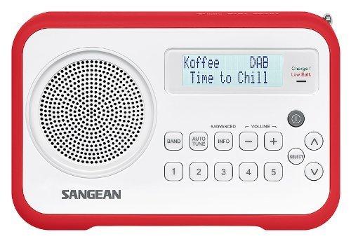 Sangean DPR-67 tragbares DAB+ Digitalradio (UKW-Tuner, Batterie-/Netzbetrieb, Uhr) weiß/rot