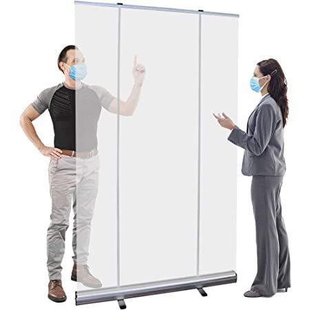 Classroo Stores DUWEN Floor Standing Sneeze GuardPartss □ Company Use □ Transparent Roll Up Banner Scale Protective Standard Standing Standing |Banner Banner Portable Pull-Out for Office Restaurant