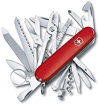 Victorinox Swiss Champ Couteau de Poche Suisse, Léger, Multitool, 33 Fonctions, Lame, Ciseaux, Tire Bouchon, Rouge