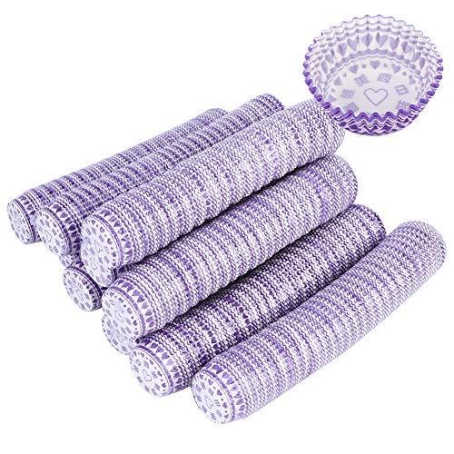 Liner de cupcake de una sola vez, tazas de hornear púrpuras para hornear una sola vez, resistencia a la temperatura de diseño antiadherente con la tabla de manos placa para bodas