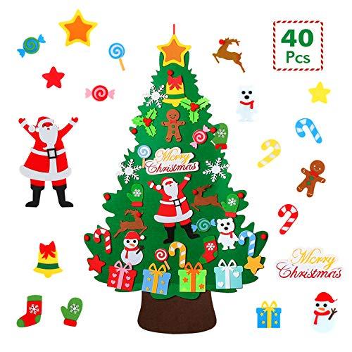WOTEK Albero Natale Feltro DIY Alberi Natale Artificiali Addobbi Educativo Giocattolo Regalo Bambini per Decorazioni Murali Natalizie da Parete, Porte, Ufficio, Aula - 40 Ornamenti (100cm*60cm)