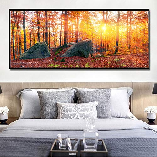 YuanMinglu Moderne Landschaft Leinwand Ölgemälde Herbst Ahorn Wald Sonnenaufgang schmücken die Wohnzimmer Wandplakate und druckt rahmenlose Malerei 60X150CM