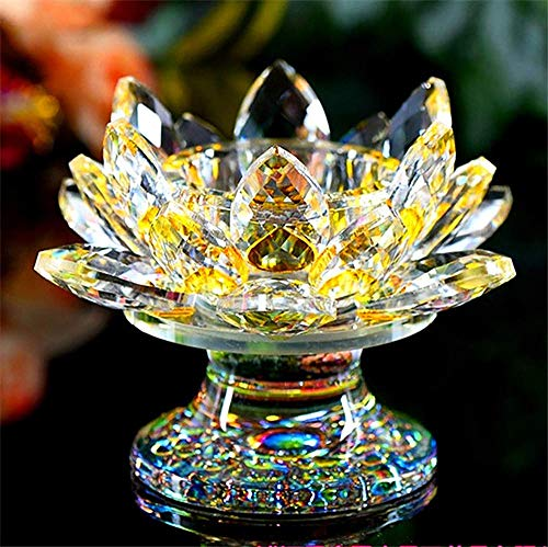 ZODSFG Wine Opener K9 Crystal Lotus Flower Figurine Miniature Garden Fengshui Ornaments Home Decor Accessories Modern Buddhist candlesticks, Blue, Color: Yellow STHMG (Color : Yellow)