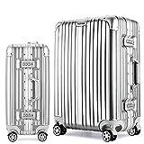 Osonmアルミニウムマグネシウム合金製 スーツケース キャリーバッグ 機内持ち込みスーツケース TSAロック 自在車 キャスター 5色6013 (L, シルバー)