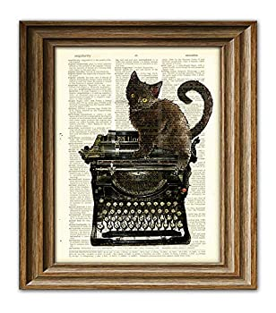The Fluffy Muse Cat On a Typewriter Black Kitten Illustration Upcycled Dictionary Page Book Art Print