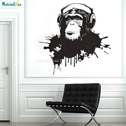 Nuevo diseño abstracto chimpancé auriculares escuchando música mono orangután DIY calcomanía arte DJ vinilo pared pegatina estilo graffiti decoración del hogar regalo para niños