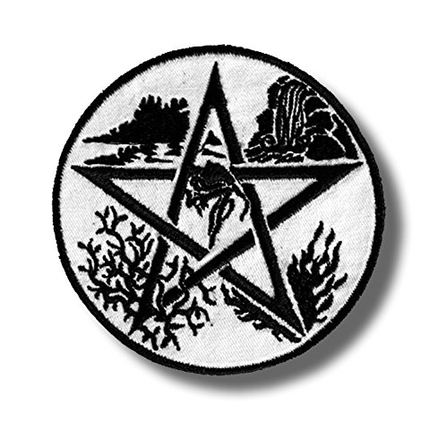Pentagram 5 Nature Elements - Embroidered Patch, 8 X 8 cm