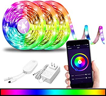 BRTLX 29.55ft (3 x 9.85ft) RGBW Dimmable Smart WiFi LED Light Strip