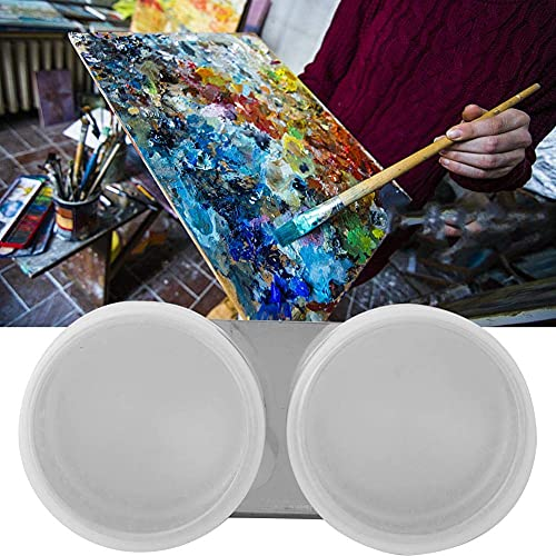Copa de paleta de acero inoxidable Copa de pintura al óleo de boca grande Copa de contenedor de paleta doble/simple para dibujar(#5)