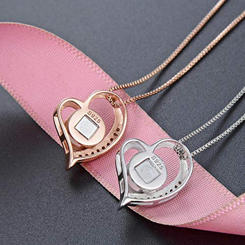 NA Xnjkws Rose Gold Accessories 100 Languages ​​I Love You Necklace Pendant-White Gold Single Pendant-No Matching Chain