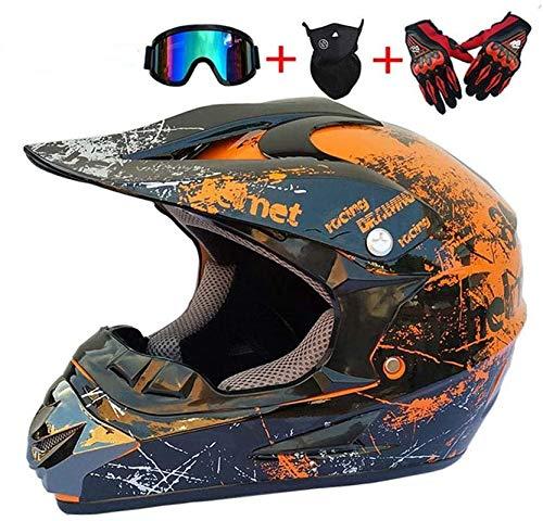 NJYBF Motocross Motorradhelm ATV-Roller-Downhill-Schutzhelm Doppel-Sport-Motocross-Helm MTB Downhill Dirt Bike BMX crosshelm kinder unisex erwachsenen geländehelm.Cross-country. (Large)