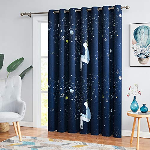 "Metro Parlor Extra Wide Patio Door Curtain 100-Inch Width, Children Space Print Grommets Top Blackout Window Drape for Sliding Glass Door Kids Room Nursery, 84"" W, Single Panel, Navy Blue"