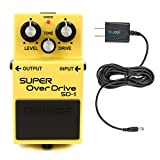 BOSS SD-1 Super Overdrive Guitar Effects Pedal Bundle with Blucoil Slim 9V 670ma Power Supply AC Adapter