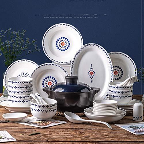 DAGONGREN Conjunto de 56 Piezas Conjunto de Cena nórdica Cerámica Cuenco y Placas Platos para el hogar Vajilla Conjunto