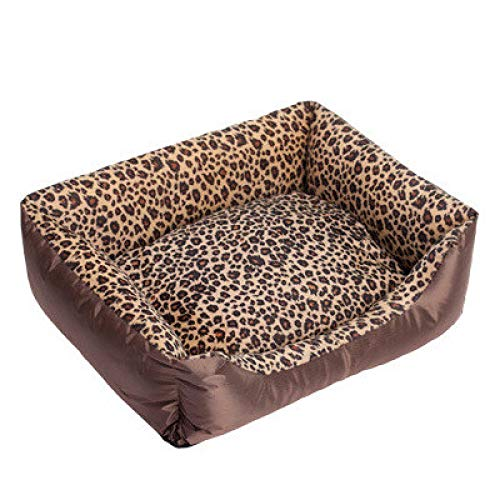 ZGTQC Huisdier Katoen Nest Dier Patroon Kennel Hondenmand Oxford Doek Kleine En Middelgrote Hond Teddy Bomei 45 cm x 35 cm x 12 cm Luipaard Print