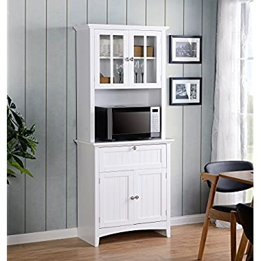 American Furniture Classics Home and Office Buffet and Hutch with Framed Glass Doors and Drawer, Large, White