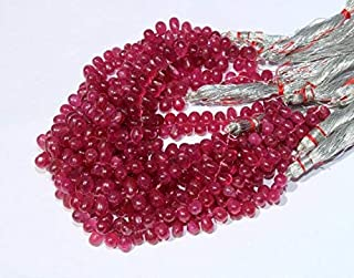 """Jewel Beads Natural Beautiful jewellery 1/2 Strand 3.3"""" Finest Quality Natural Ruby Smooth Teardrop Briolettes 38 Pcs/Ruby Beads/Precious Gemstone Beads/Size- 4x3-8x5mm GBE07Code:- BB-15152"""