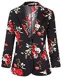 Unifizz Modern Jacket Women Flower Print with Pockets Floral-2 XXL