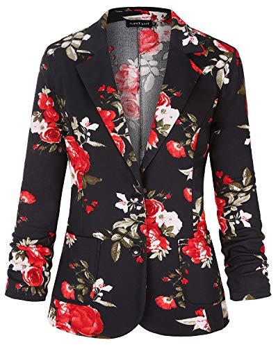 MINTLIMIT Damen 3/4 Ärmel Blazer Vorne Offen Jacke Jacke Arbeit Büro Blazer(Blumen Rot,Größe XXL)