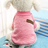Idepet Pet Dog Classic Knitwear Sweater Fleece Coat Thickening Warm Pup Dogs Shirt Winter Pet Dog Cat Clothes Puppy Customes Clothing for Small Dogs (XXS, Pink)