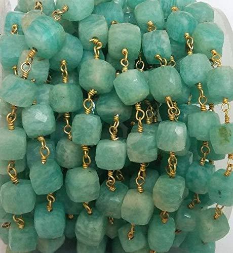Juweel kralen natuurlijke mooie sieraden 5 voeten natuurlijke Amazonite kubus kralen ketting - Amazonite doos draad verpakt ketting met 24k goud verguld 7-8mmCode:- JJBB-12743