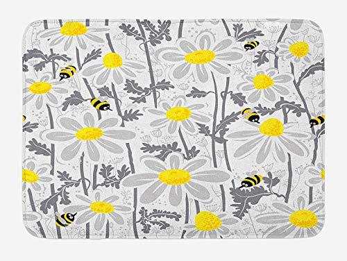 Grijze badmat, madeliefje bloemen met bijen in de lente tijd honing bloemblaadjes bloemen natuur zuiverheid bloeien, pluche badkamer Decor mat met niet-slip backing, 23,6 W X 15,7 W Inch, geel wit