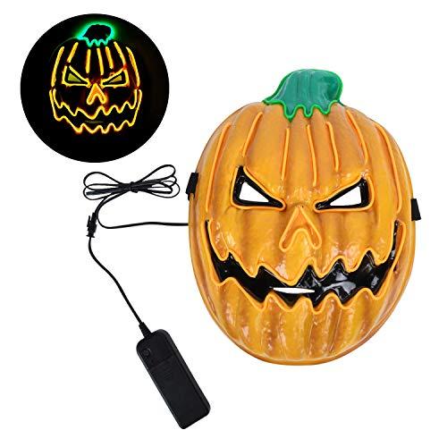 EKKONG Halloween Maske, Halloween Masken LED Kürbis Purge Maske mit 3 Steuerbar Blitzmodi Gruselige Mask für Karneval, Fasching, Maskerade, Party, Mardi Gras, Kostümparty, Cosplay, Wanddekoration