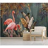 Iusasdz カスタム壁紙3D北欧モダンミニマリスト熱帯植物森林フラミンゴテレビ背景壁壁画壁紙250X175Cm