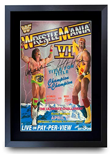 HWC Trading Poster / Poster, Motiv FR WrestleMania 6 von Hulk Hogan, Ultimate Warrior, gerahmt, A3