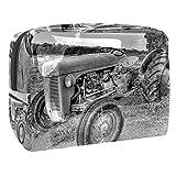 Neceser neceser maquillaje cosmético organizador bolsa de lavado bolsa de viaje kit para hombres y mujeres Torre Eiffel de París con vestido de dama, Tractor antiguo., 18.5x7.5x13cm/7.3x3x5.1in,