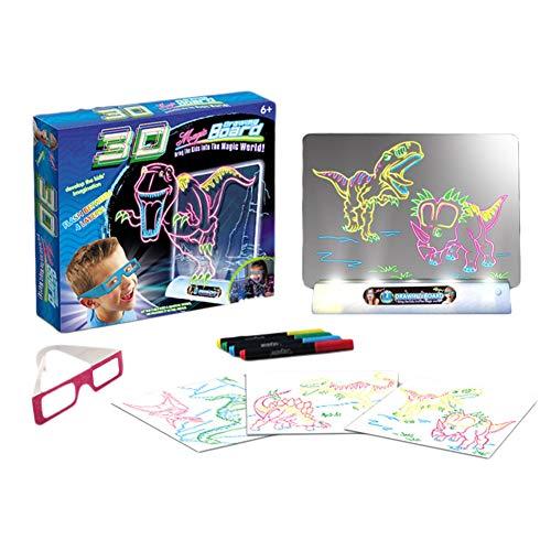 Hihey Light Doodle - Tabla de dibujo con luces 3D, diseño de dinosaurio, juguete educativo borrable con gafas 3D, regalo para niños