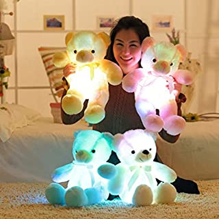 PKRISD 50Cm Creative Up Led Cute Bear Stuffed Animals Plush Toy Colorful Glowing I Bear Christmas Toys for Children Qb214 Boy Must Haves The Favourite Comic Superhero Cake Topper UNbox Game
