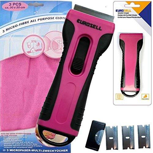 TronicXL Kochfeld Schaber Reiniger + 3 Mikrofaser Tücher Ceranfeldschaber Kochfeld pink rosa
