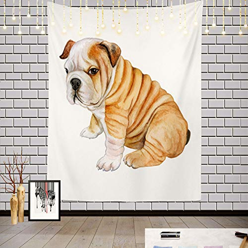 Batmerry Black and White Tapestry, Red Animal Puppy English Bulldog White Cute Realistic Picnic Mat Hippie Trippy Tapestry Wall Art Decor for Bedroom Living Room, 59.1 x 39.4 Inches, White Black