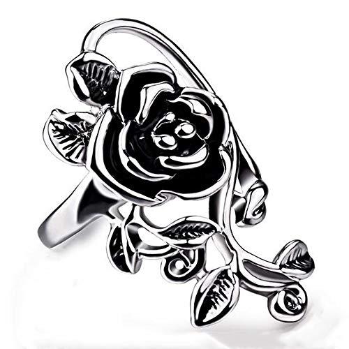 Anillo vintage de acero inoxidable con diseño de rosas y flores de color plateado