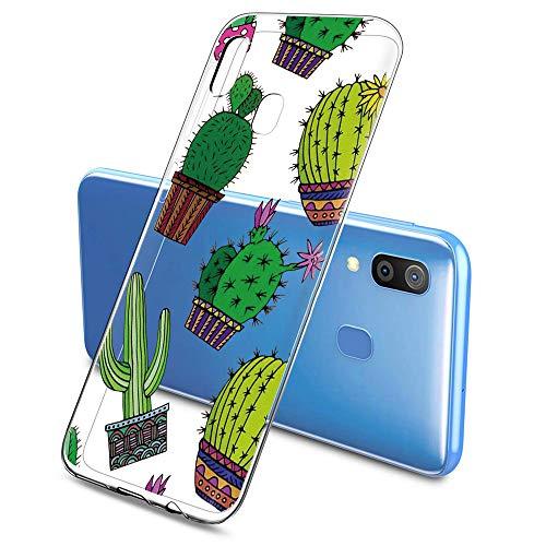 Oihxse Funda Compatible con Samsung Galaxy J5 Prime/ON5 2016, Carcasa Transparente Silicona TPU Suave Protector de Golpes Ultra-Delgado Cristal Cover Anti-Choque Anti-Arañazos Bumper-Cactus